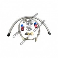 Universal Turbo Oil Line Kit Feed + Return Drain 4AN 10AN For T4 T04B Turbo  Oil Pan Plug