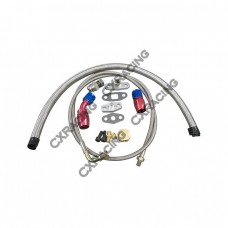 Universal Turbo Oil Line Kit Feed + Return Drain 4AN 10AN For T3 T4 T70 Turbo  Oil Pan Plug