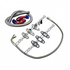 Oil Line Fitting Flange Kit For 86-98 Toyota Supra 1JZGTE 2JZGTE 1JZ/2JZ Single Turbo 9 PCS