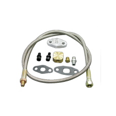 "37"" Oil Inlet Feed Line Kit Braided For T3 T4 T04E T70 GT35 Turbo"