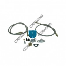 Universal Oil Filter + Feeding Line Kit , Braided Aluminum For  T3 T4 T04E T60 T61 T70 Turbo