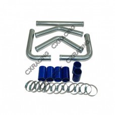 "1.5"" Universal Aluminum Piping Kit, Madrel Bent, Polished, 1.65mm Thickness Tube, 15 Inch Length"