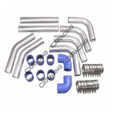 "2"" Universal Aluminum Piping Kit with 2 Elbow Hoses, Mandrel Bent, Polished, 2.0mm Thick, 18"" Lenght"