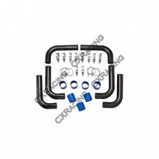 """Universal 2.5"""" Black Pipe Aluminum Intercooler Piping Kit DIY 2.5 Inch"""
