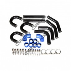"2.5"" 9PC Black Universal Aluminum Turbo Intercooler Piping Kit 90 Degree three U"