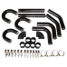 "2.5"" 9PC Black Universal Aluminum Turbo Intercooler Piping Kit 90 Degree three U"