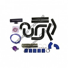 "2.5"" Black Universal Aluminum Turbo Intercooler Piping Kit 45 90 Degree Pipe BOV"
