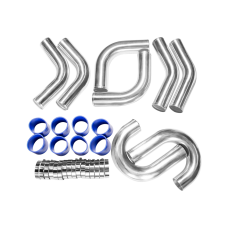 "3"" 8pcs Intercooler Piping Kit 45 75 90 Degree + Blue Hoses + Clamps"