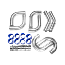 "3"" 8pcs Intercooler Piping 45 90 Deg L J Shape + Blue Hoses + Clamps"