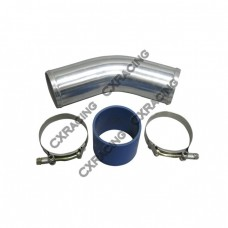 "3"" OD Universal Al Intercooler Pipe 45 Degree 10"" Long+Hose+2 Clamps"