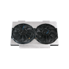"Aluminum Radiator Shroud + 12"" Electrical Fans For Land Rover Defender 90 110"