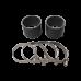 "4"" Straight Black Silicon Hose Coupler 2 PCS w/ T Bolt Clamps"
