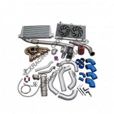 Turbo Kit For 2JZGTE 2JZ 240SX S13 S14 Intercooler Piping Radiator Downpipe Fan