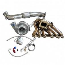 Single Turbo Manifold Downpipe Oil Line Kit For SC300 2JZ-GTE Swap 2JZGTE