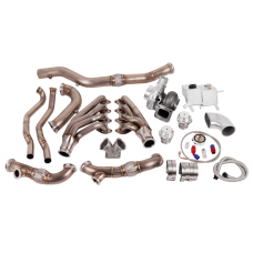 Turbo Header Manifold Downpipe Kit for 05-14 Ford Mustang 4.6L V8 NA-T Coolant PS Tank