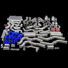 Twin Turbo Manifold Header Intercooler Exhaust Catback Kit for 67-69 Camaro LS1 LS
