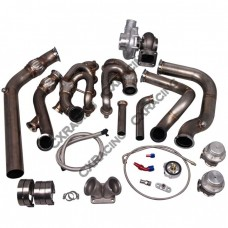 T76 Turbo Header Manifold Downpipe Kit For 79-93 Ford Mustang LS1 LSx Swap