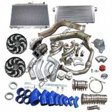 "GT45 Turbo Intercooler Piping Kit 3.5"" Downpipe Manifold Radiator For S13 S14 LS1 LSx"