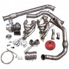 T76 Single Turbo Manifold Downpipe 240SX S13 S14 LS1 LSx Engine Swap