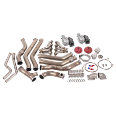 Twin Turbo Header Manifold Downpipe Wastegate Kit for 68-72 Chevelle LS1 LSx