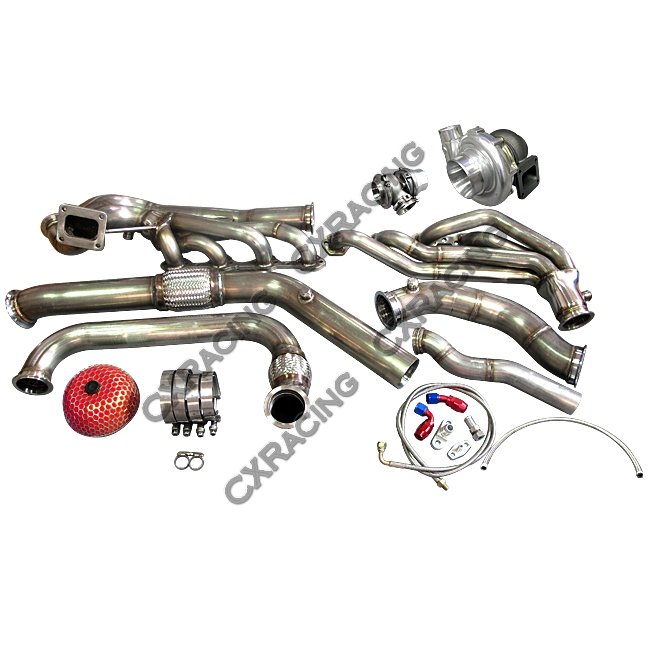 Turbo Header Manifold Downpipe Wastegate Kit For 64-68 Ford