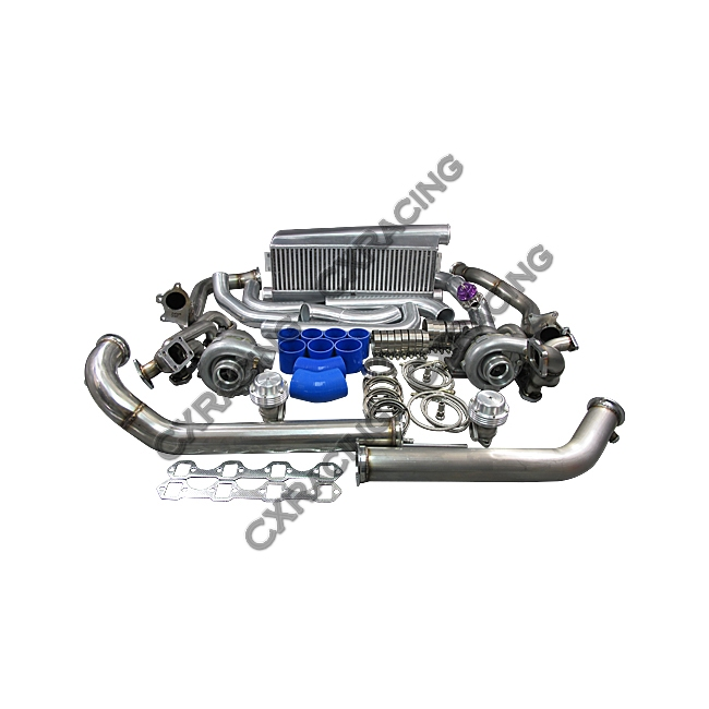 Ford Universal Turbo Kit: T04E Twin Turbo Intercooler Kit For 79-93 Ford FoxBody