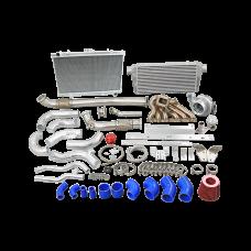 2JZGTE Single Turbo Kit + Intercooler Radiator For Mazda RX7 FC Swap