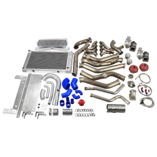 Twin Turbo Header Downpipe Intercooler Radiator Piping Kit for 68-72 Chevelle LS1 LSx