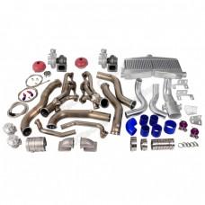 Twin Turbo Header Manifold Downpipe Intercooler Kit For 82-92 Camaro SBC