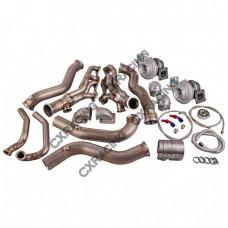 Twin Turbo Header Manifold Downpipe Kit For 82-92 Camaro SBC Small Block